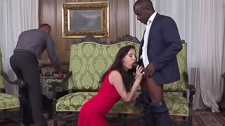 A pair of horny black men stick their cocks into a white chick