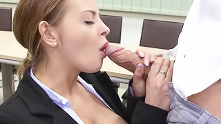A hot schoolgirl is getting her cunt rammed by a horny friend