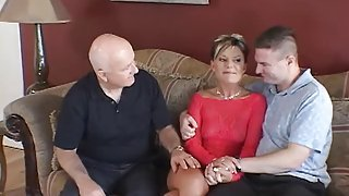 Husband watches feisty blonde wife take cock on a couch