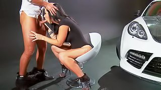 Smoking hot long haired busty bombshell Jayden Jaymes with bif juicy tits in high heels gives head to dirty Keiran Lee and gets her hairless wet cunt licked to orgasm