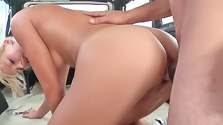 Sexy blonde JC gets screwed in a car after sucking a cock
