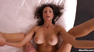 Crazy MILF mom sucks and fucks in POV