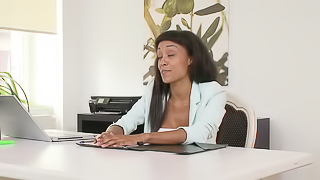 A hot woman gets naked in the office and she then gets rammed