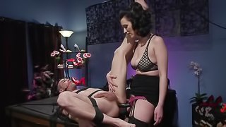 Mistress in stockings dominates guy and lets him drill hairy twat