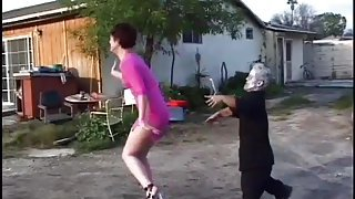 Horny Brunette Is Fucked By Short Zombie Guy