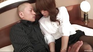 Sexy girl in pantyhose straddles him in hotel