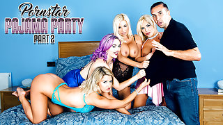Aaliyah Ca Pelle & Jasmine James & Keiran Lee & Michelle Thorne & Sienna Day in Porn Star Pajama Party Part 2 - DigitalPlayground