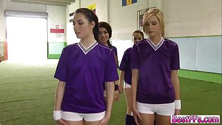 Lovely teens gets tough test on the team by their captain for doing great action
