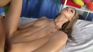 Slim Slut Gets Her Masseur's Big Dick Up Her Tight Cooch