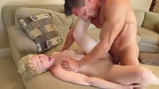 Curly haired blonde granny with a sexy body gets her juicy tits rubbed and her wet cunt fucked by her younger fuck buddy Marco Banderas. She gets her mature slit pounded hard