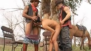 Hardcore gay threesome scene with nice boys